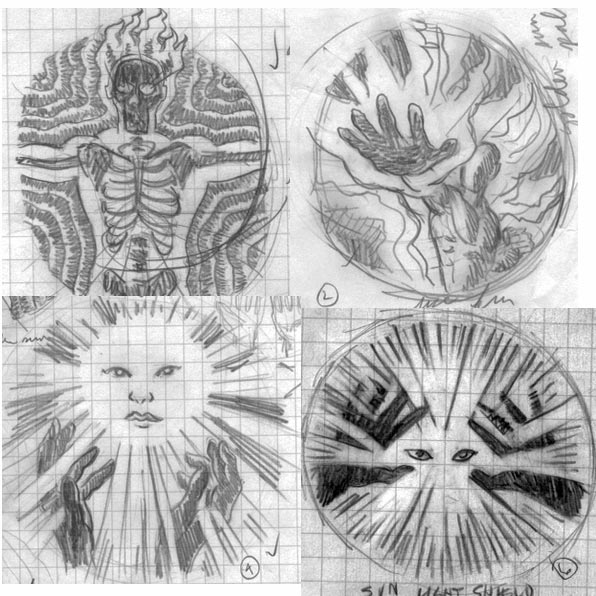Chi Warrior Sun icon sketches